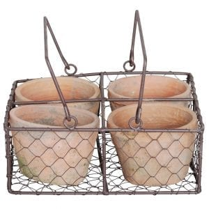 RHS Aged Terracotta Pots and Wire Basket