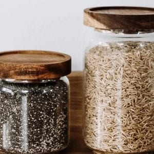 Single Glass and Wood Storage Jars